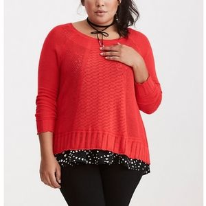 Torrid Red Mixed Stitch Pointelle Sweater Top S0